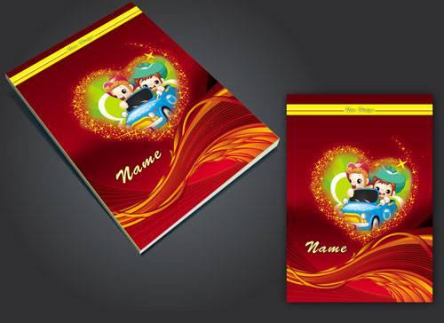 جلد دفتر لایه باز طرح قلب طراحی شده با فتوشاپ