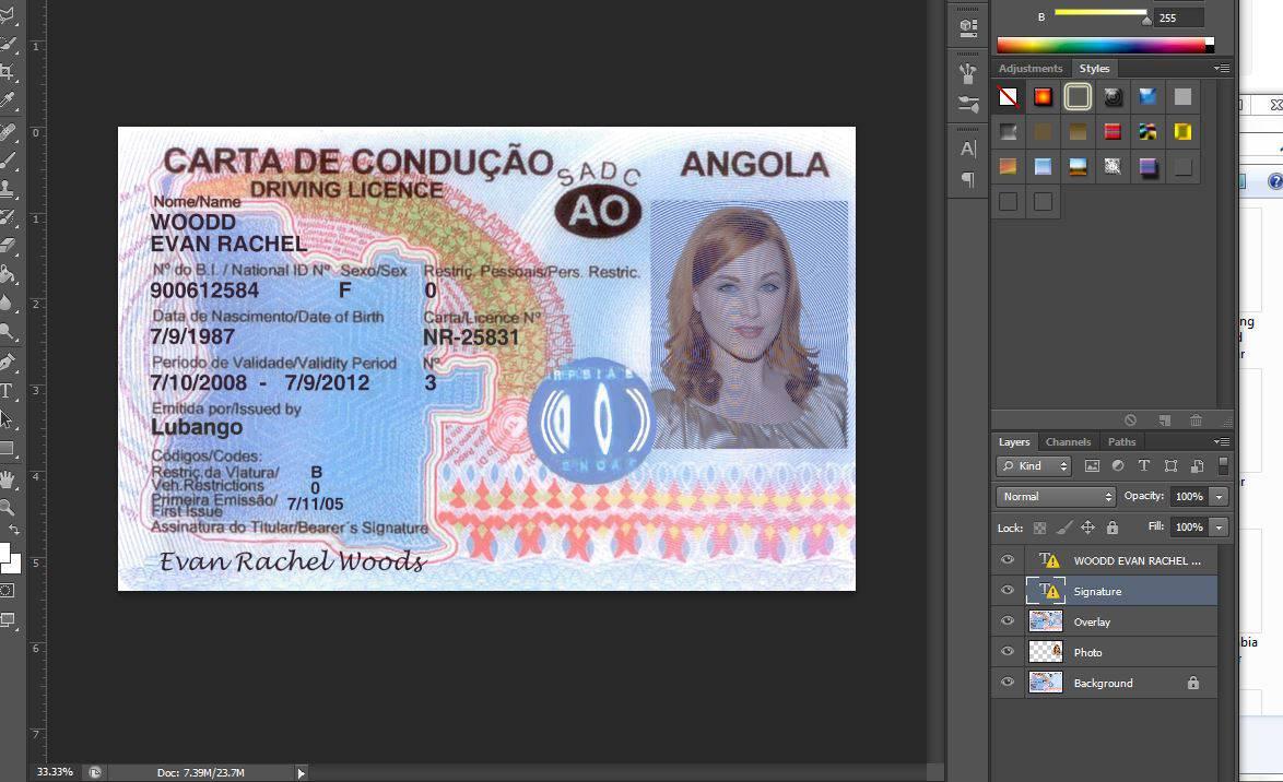 دانلود فایل فتوشاپ گواهینامه رانندگی کشور آنگولا