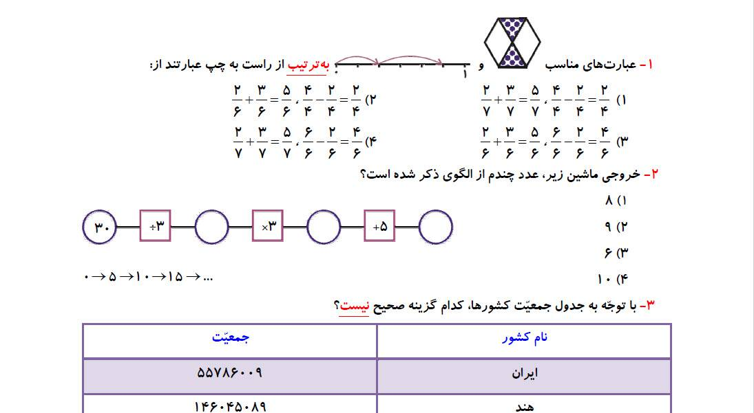 تمرین فصل 1 و 2 ریاضی چهارم به همراه سوالات قلم چی و پاسخنامه تشریحی