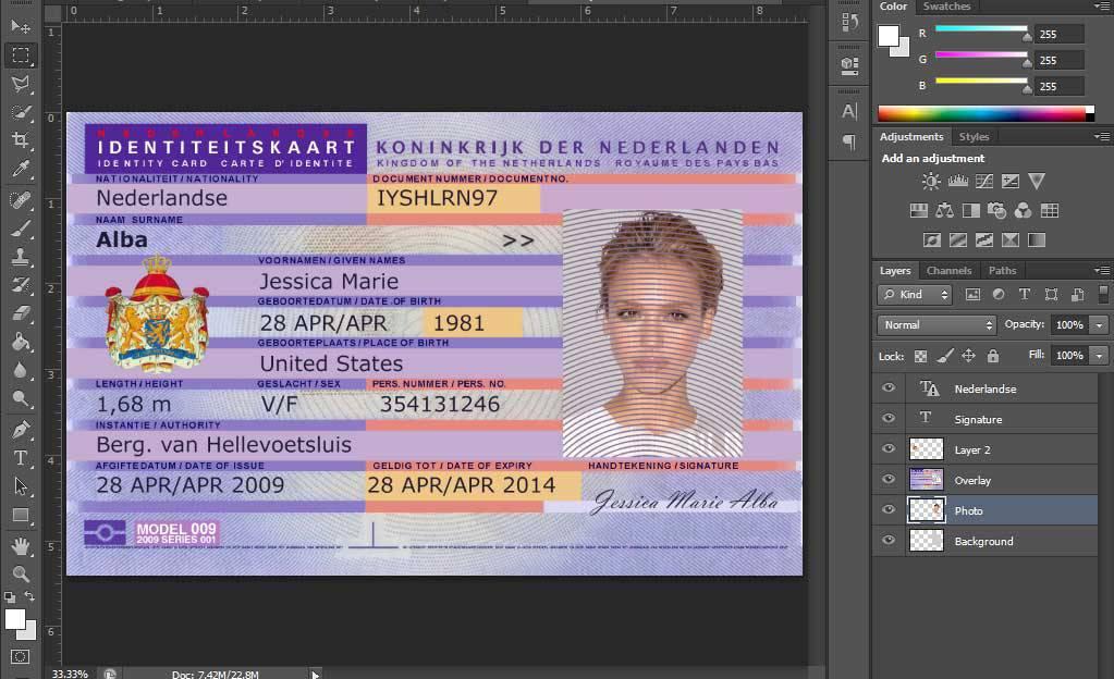 دانلود لایه باز id card یا کارت شهروندی هلند
