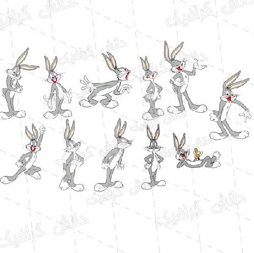 مجموعه وکتور باگز بانی شامل 11 وکتور شخصیت کارتونی باگز بانی