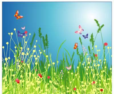 وکتور پروانه های در حال پرواز با پس زمینه زیبا