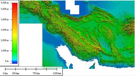 دانلود DEM ایران ، دقت مکانی 90 در 90 متر و دقت ارتفاعی 10 متر با فرمت Tiff