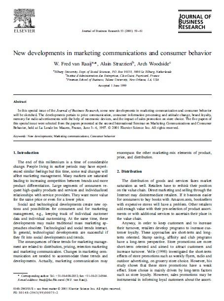پیشرفت های جدید در ارتباطات بازاریابی و رفتار مصرف کننده مقاله رشته مدیریت درس رفتار مصرف کننده