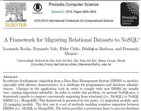 ترجمه مقاله انگلیسی : A Framework for Migrating Relational Datasets to NoSQL