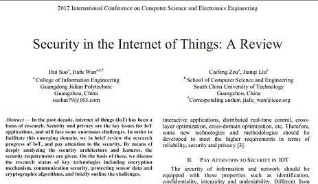 ترجمه مقاله انگلیسی : Security in the Internet of Things A Review