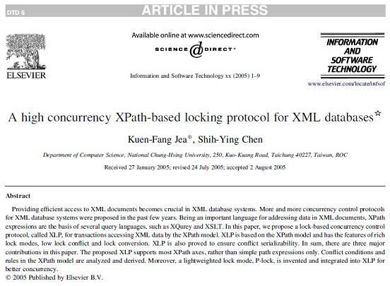 ترجمه مقاله انگلیسی: A high concurrency XPath based locking protocol for XML databases