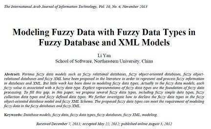 ترجمه مقاله انگلیسی:  Modeling Fuzzy Data with Fuzzy Data Types in Fuzzy Database and XML Modelsn