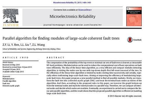 ترجمه مقاله Parallel algorithm for finding modules of large scale coherent fault trees
