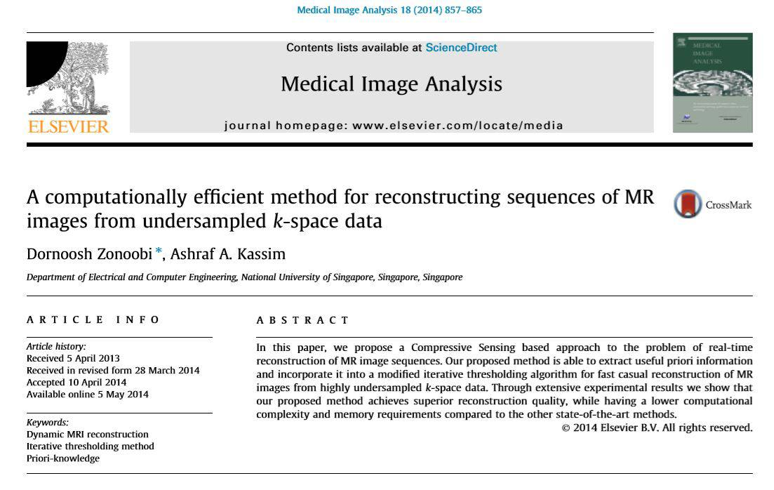مقاله A computationally efficient method for reconstructing sequences of MR images from undersampled k space data