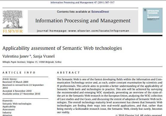 ترجمه مقاله انگلیسی : Applicability assessment of Semantic Web technologies