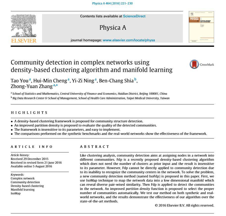 Community detection in complex networks using density based clustering algorithm and manifold learning