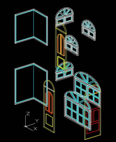 آبجکت سه بعدی در و پنجره