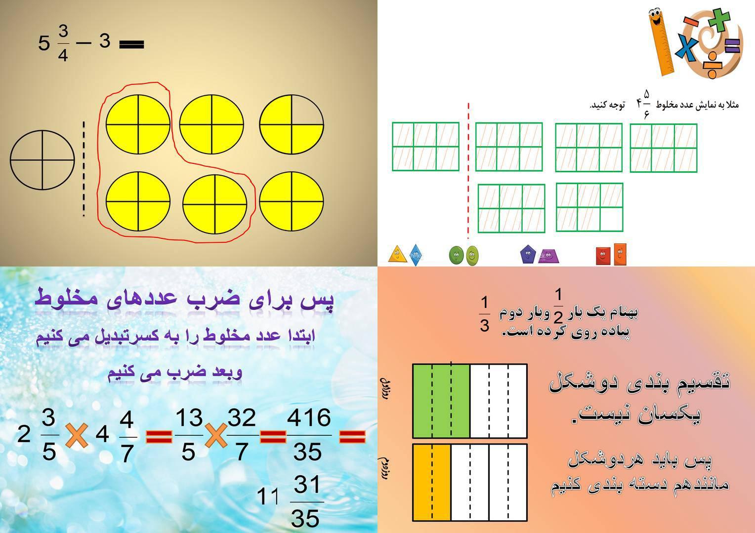 مجموعه پاورپوینت ریاضی پنجم(یادگیری،جمع،تفریق و ضرب عدد مخلوط)