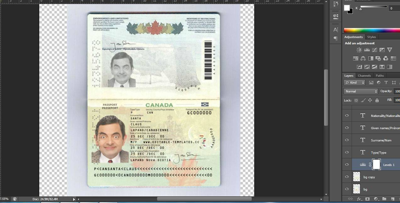 فایل لایه باز پاسپورت کانادا