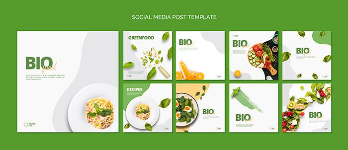 قالب لایه باز پست غذایی اینستاگرام و شبکه های اجتماعی با فرمت PSD