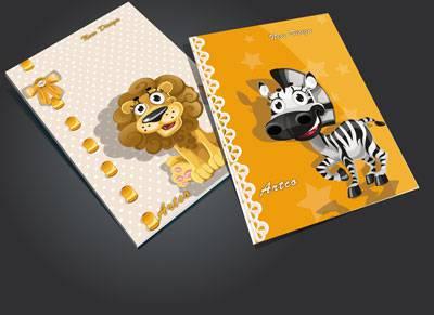 جلد دفتر لایه باز کودک (طرح رو جلد دفتر ) طرح شیر و گورخر فانتزی