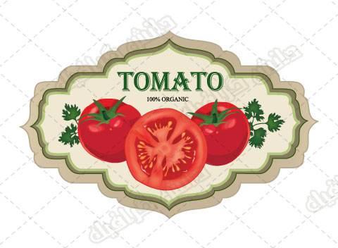 طرح وکتور گوجه فرنگی و لیبل گوجه فرنگی