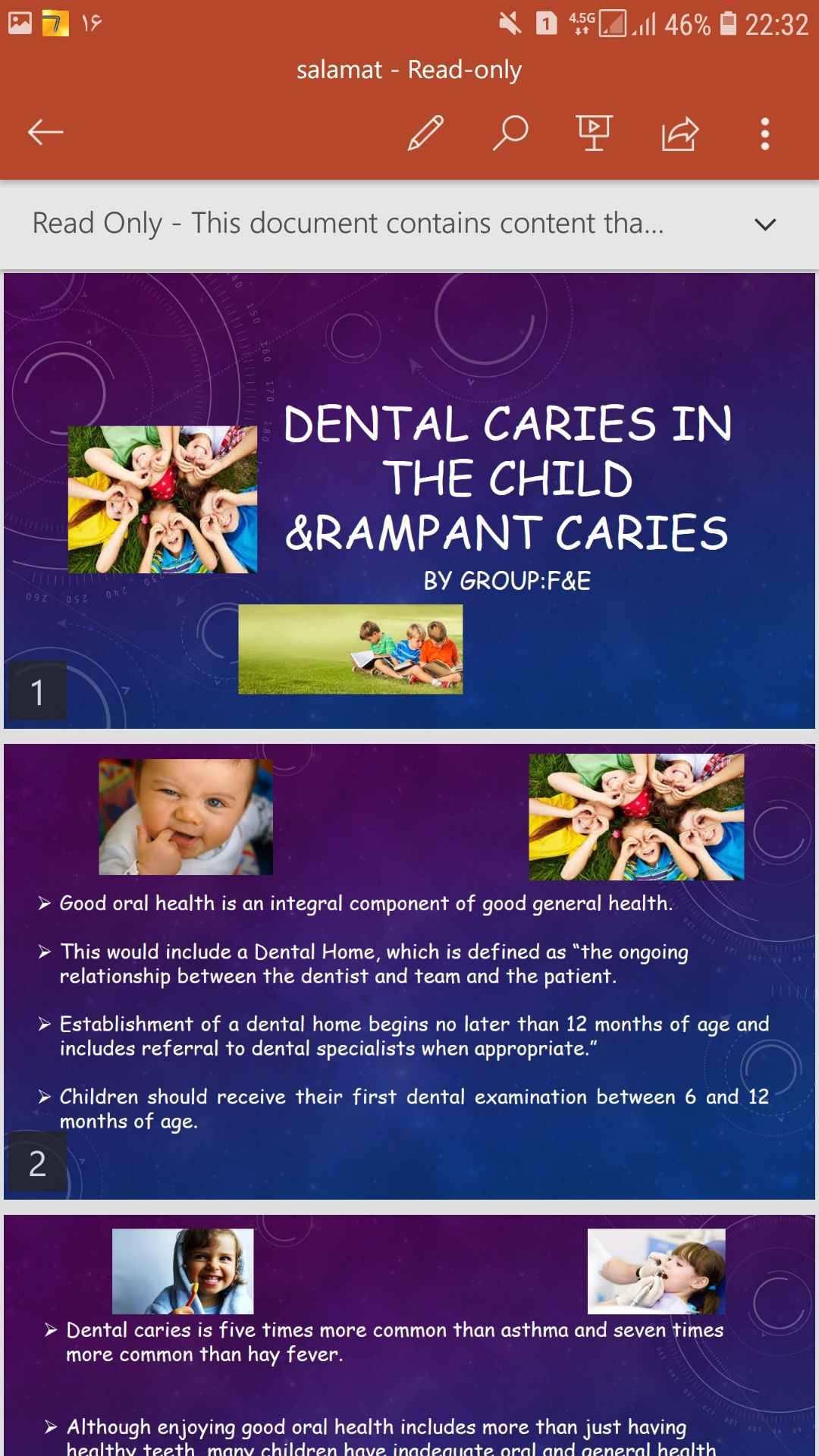 پاورپوینت انگلیسی دندانپزشکی dental caries in the child