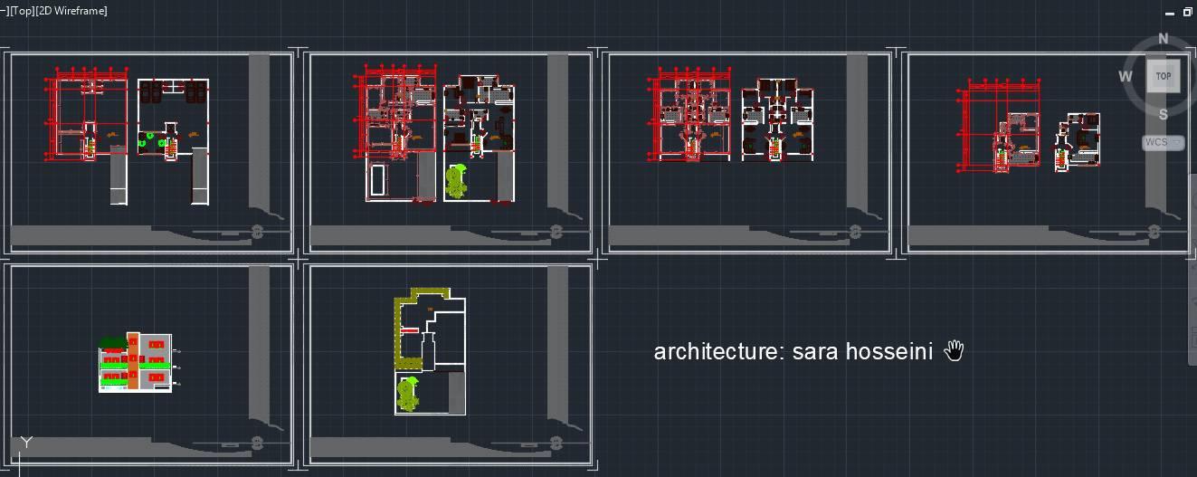فایل اتوکد نما و پلان های کامل مسکونی دو طبقه و نیم