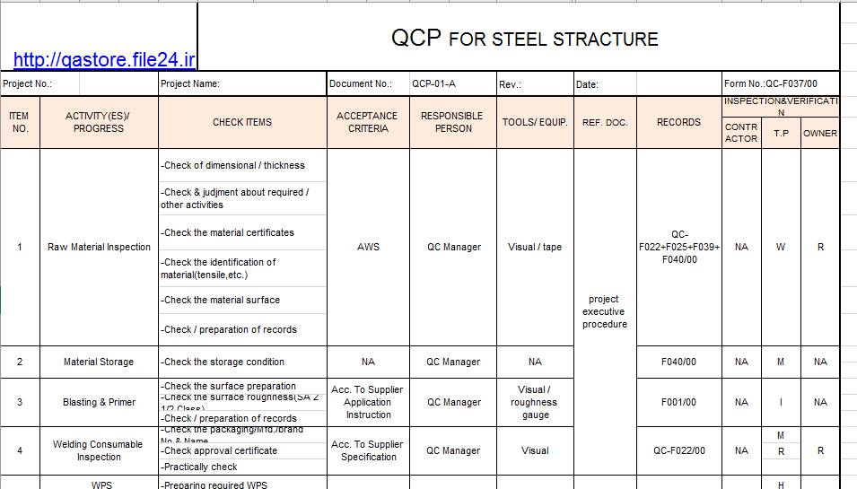 Inspection and Test Plan for Steel Structure