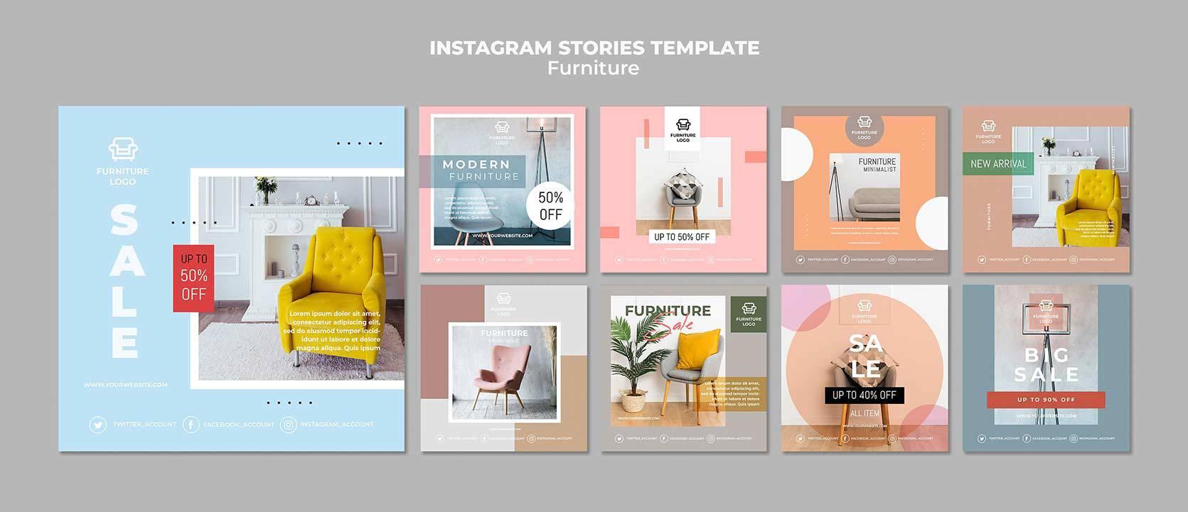 طرح لایه باز پست تبلیغاتی اینستاگرام ، تجاری و فروشگاهی